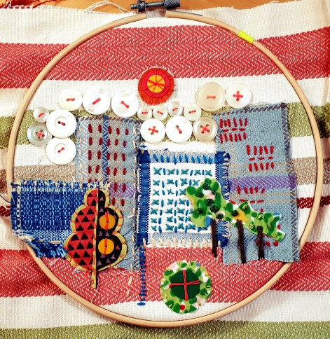 A stitch work of a city landscape